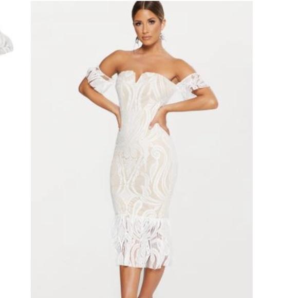 68291d955 PrettyLittleThing Dresses | White Bardot Lace Frill Hem Midi Dress ...